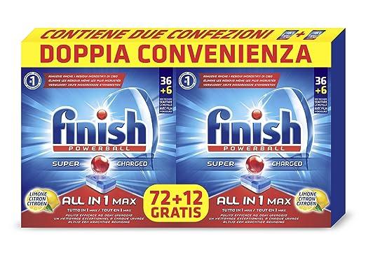 49 opinioni per Finish All in 1 Max Detergente, Limone, 2 confezioni con 72+12 pezzi