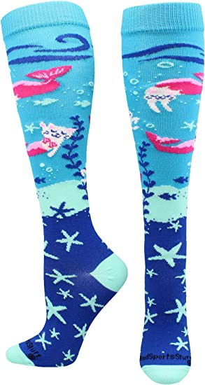 MadSportsStuff Half Cat Half Mermaid Purrmaid Athletic Over The Calf Socks