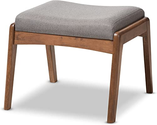 Baxton Studio Elyse Walnut Wood Grey Fabric Upholstered Footstool