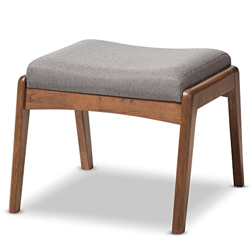 Baxton Studio Elyse Walnut Wood Grey Fabric Upholstered Footstool