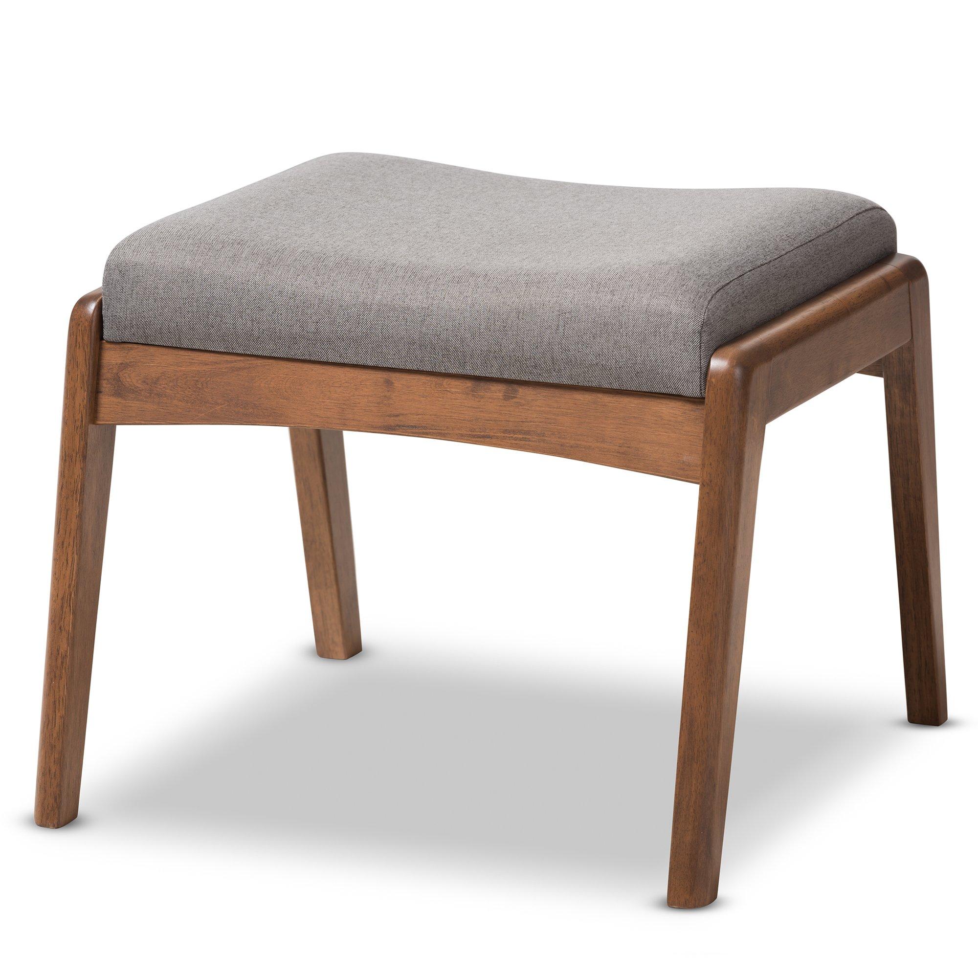 Baxton Studio Elyse Walnut Wood Grey Fabric Upholstered Footstool, Chair