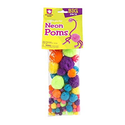 Creative Hands Poms Assorted Sizes, Neon, 100 Pieces: Arts, Crafts & Sewing [5Bkhe2001455]