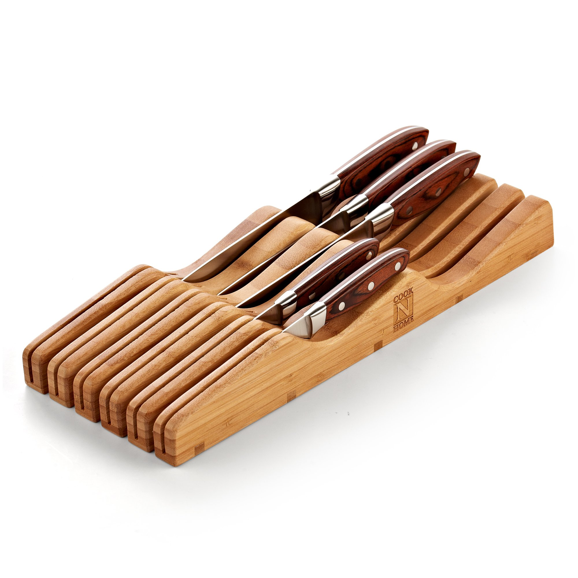 Cook N Home In-Drawer Bamboo Knife Storage Block, 11 Slot by Cook N Home (Image #3)
