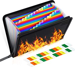 Fireproof File Organizer, Expanding File Folder Important Document Bag,Fire & Water Resistant Filing Folders,24 Pockets,A4 Size,Color Labels,Non-Itchy Silicone Coated Safe Storage Pouch(14.3
