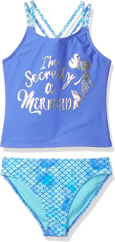 Angel Beach Girls Big Foil Mermaid Tankini Swim Set