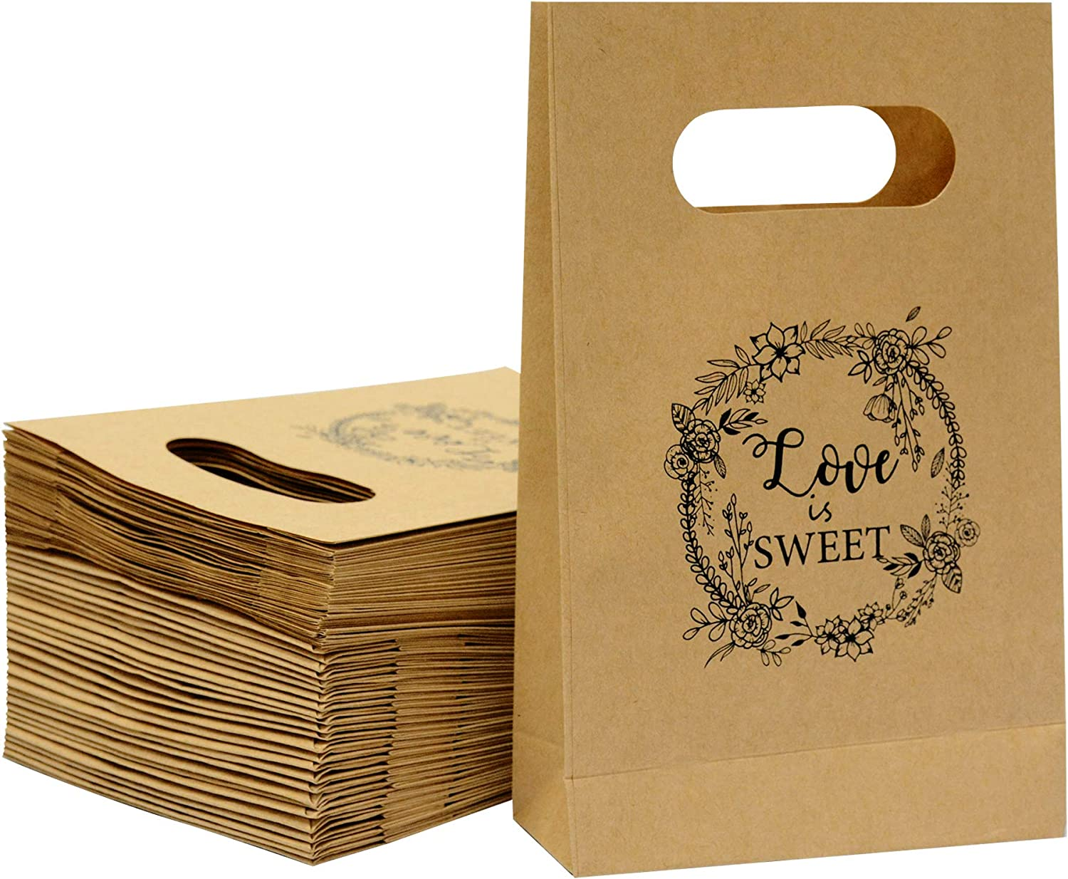 Brown Craft Paper Bag with Handled Friday Night Craft Treat Bags 8.5 * 5.5 * 2 Inch for Wedding Party Business (50pcs)