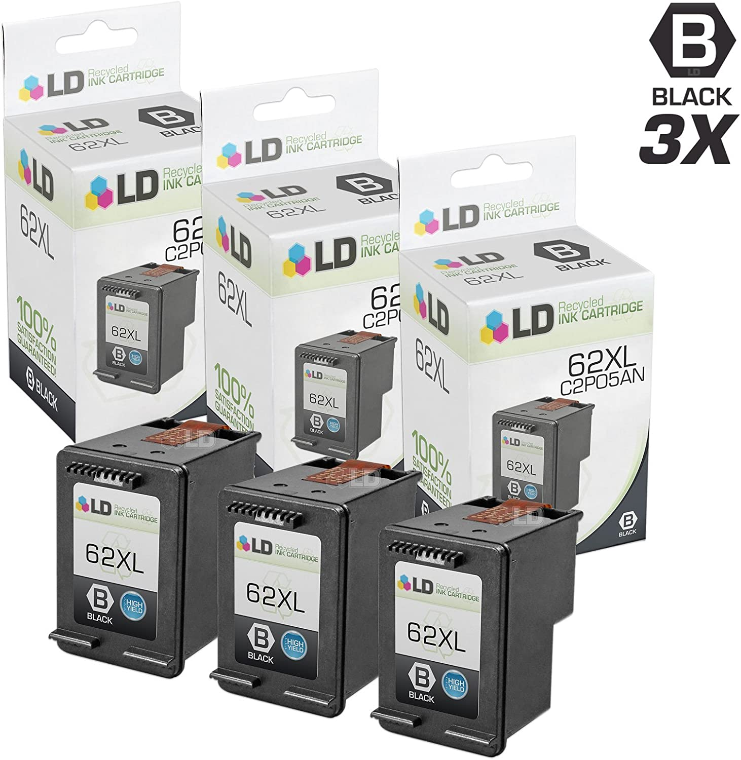 LD Remanufactured Ink Cartridge Replacement for HP 62XL C2P05AN High Yield (Black, 3-Pack)