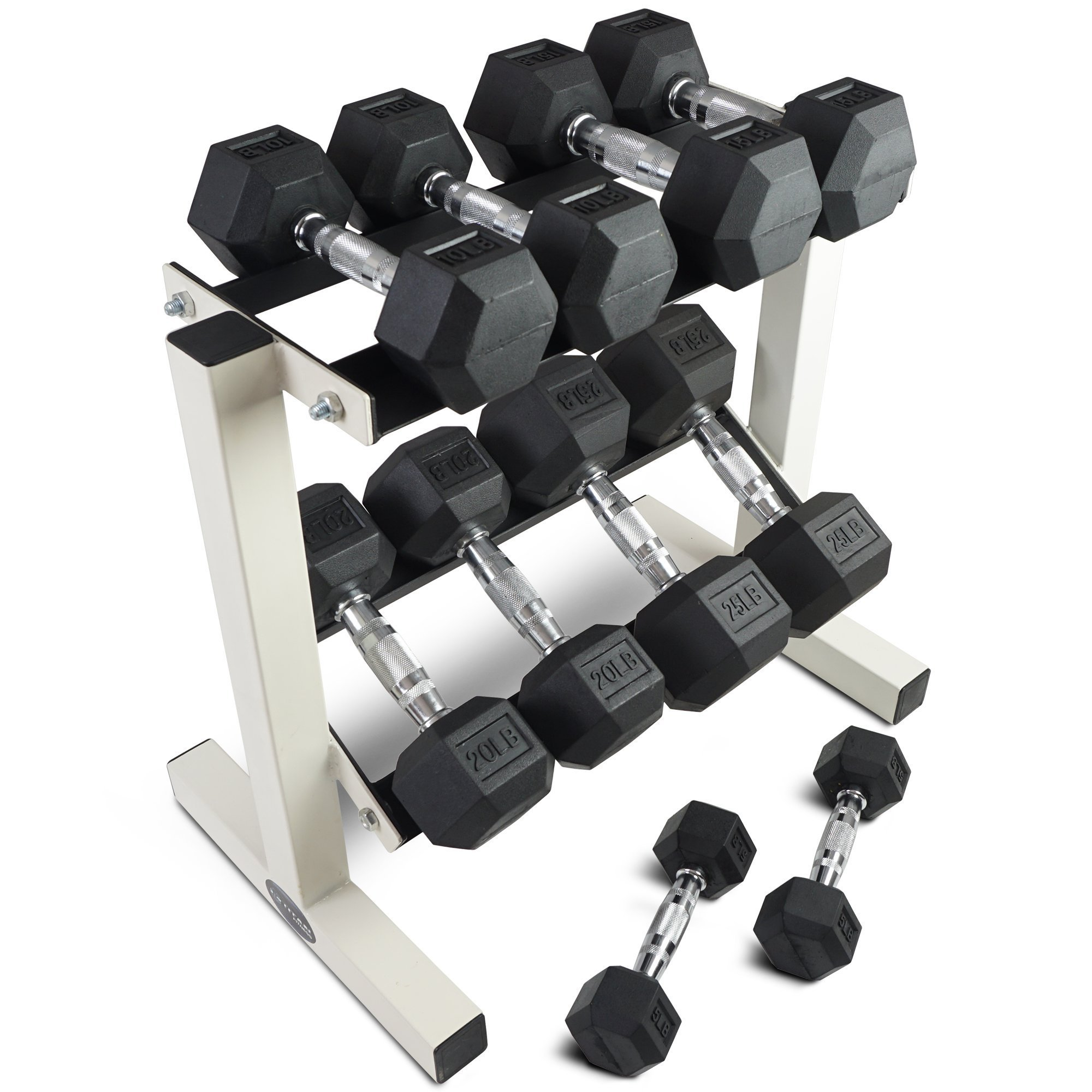 Rubber Coated Hex Dumbbell Weights Training Set w/ Rack 5 - 25 lb Titan Fitness by Titan Fitness