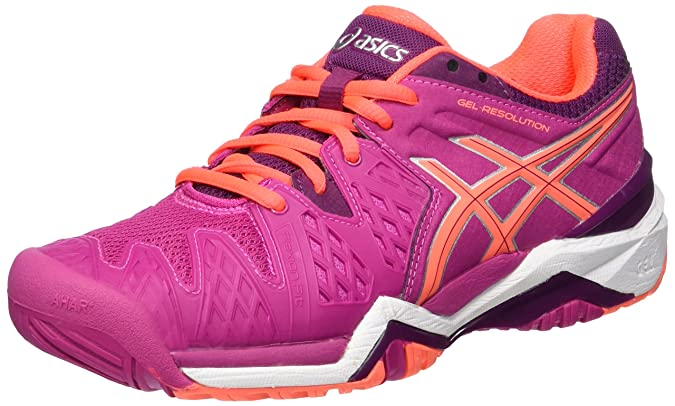 Asics Gel-Resolution 6 Clay, Chaussures de Tennis Femme, Multicolore (White/Parachute Purple/Hot Pink), 40 EU