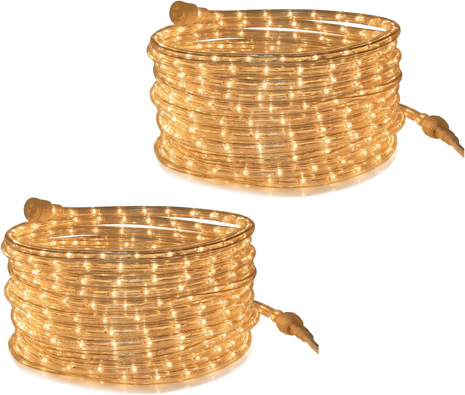 Tupkee Rope Light Warm Clear - 24 Feet (7.3 m), for Indoor and Outdoor use - 10MM Diameter - 288 Clear Incandescent Long Life Bulbs Rope Tube Lights - Pack of 2