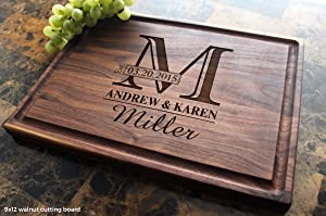 Monogram Personalized Engraved Cutting Board - Wedding, Anniversary, Housewarming, Birthday, Corporate Gift, Award, Promotion. #003