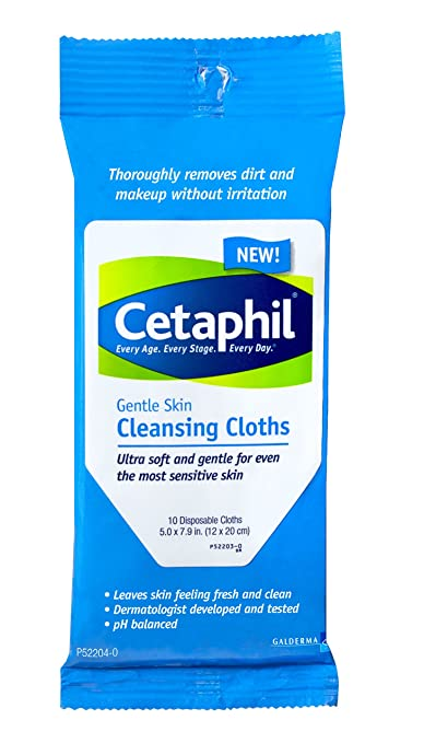 Cetaphil Gentle Cleansing Cloth, 10 Count (Pack of 12)