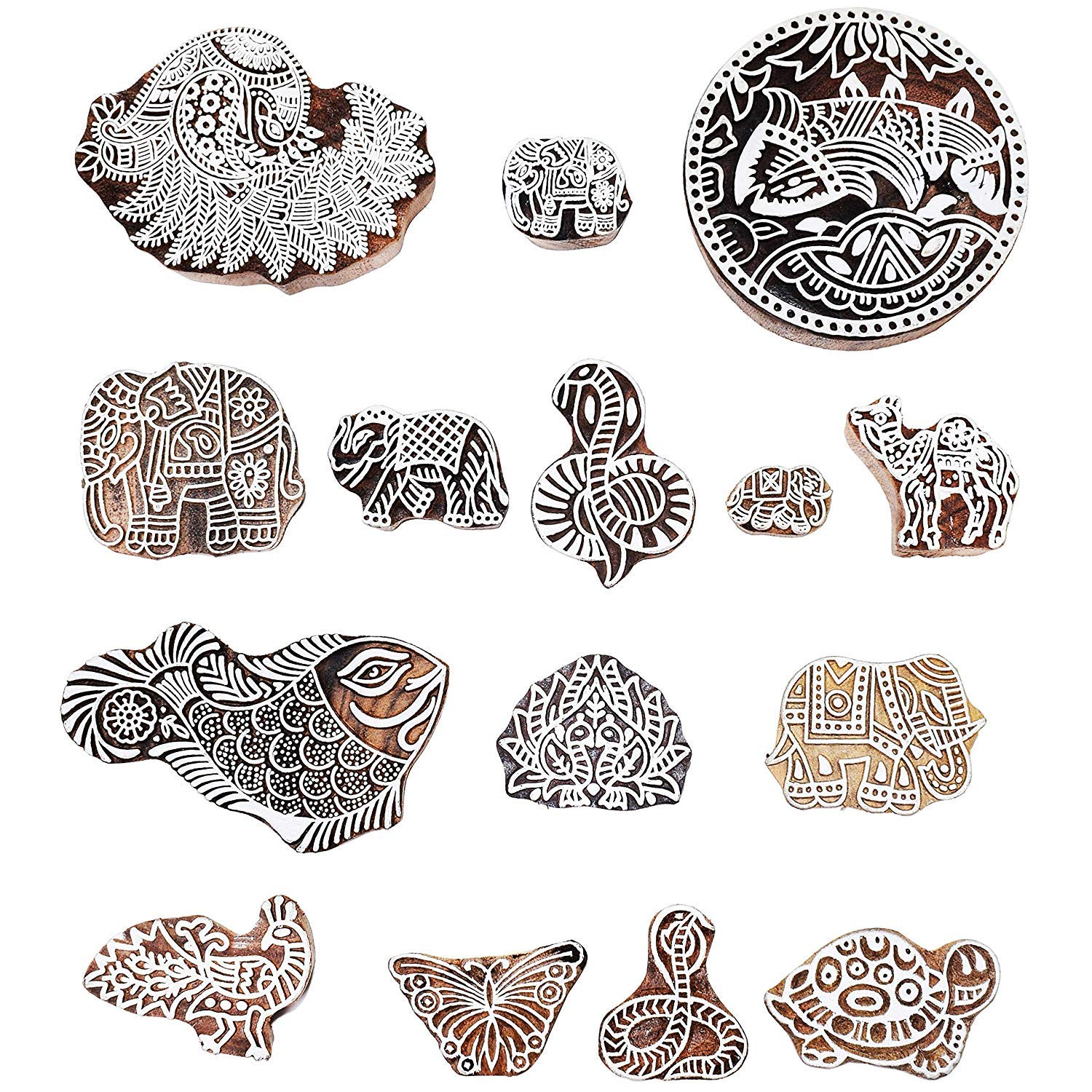 PARIJAT HANDICRAFT Printing Stamps Animal Design Wooden Blocks (Set of 37) Hand-Carved for Saree Border Making Pottery Crafts Textile Printing