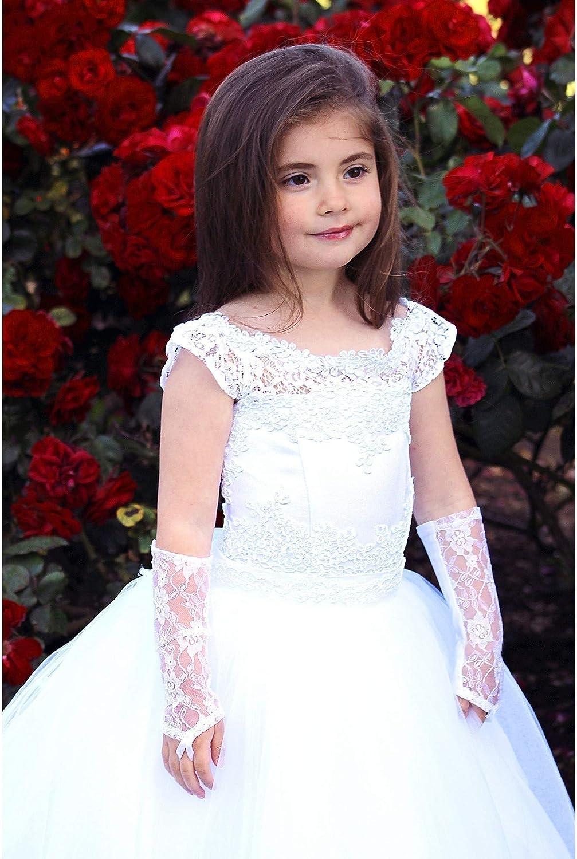 TriumphDress Big Girls White Off-Shoulder Tulle Todi Flower Girl Dress 8//10