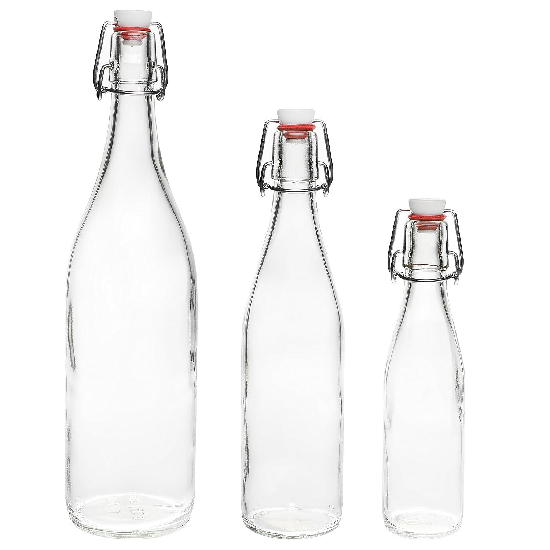 6 x 1 Litre Glass Bottles with Swing Tops - 1000ml - 100 cl Pack of 6 by slkfactory SLK GmbH