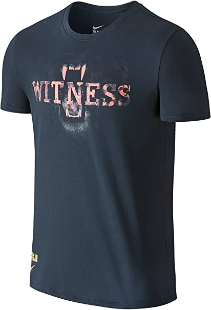 1986f300 Nike Lebron James Men's Lion Teeth Witness Dri-FIT Cotton T-Shirt (Charcoal