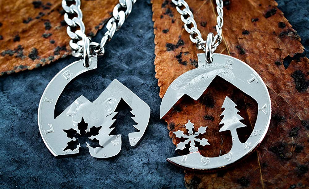 double sided necklace inspirational necklace Nature girl mountain texture