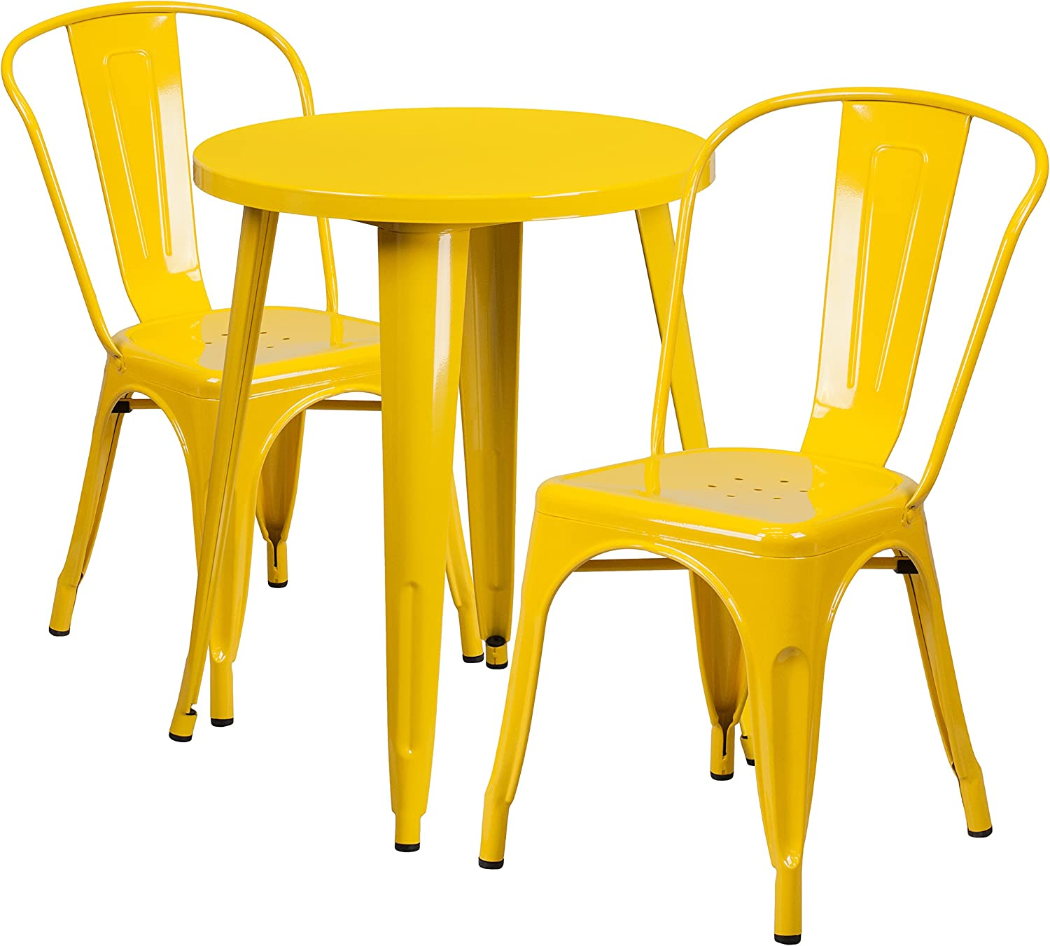 Flash Furniture 24 Round Yellow Metal Indoor-Outdoor Table Set with 2 Cafe Chairs