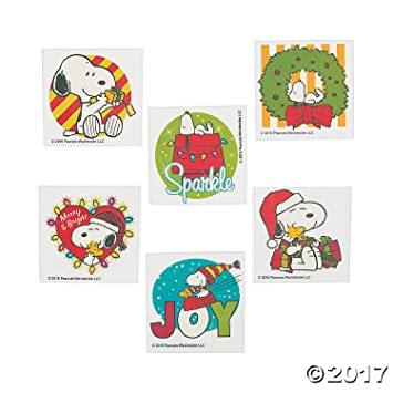 Amazon Com Peanuts Christmas Tattoos Snoopy With Woodstock In