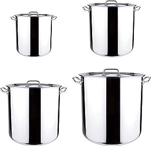 Stainless Steel SMALL & Large Stock Pot Set, Stew Pot, Simmering Pot, Soup Pot with Lid, Healthy Duty, Dishwasher Safe By Lake Tian (13qt,20qt,40qt,60qt)