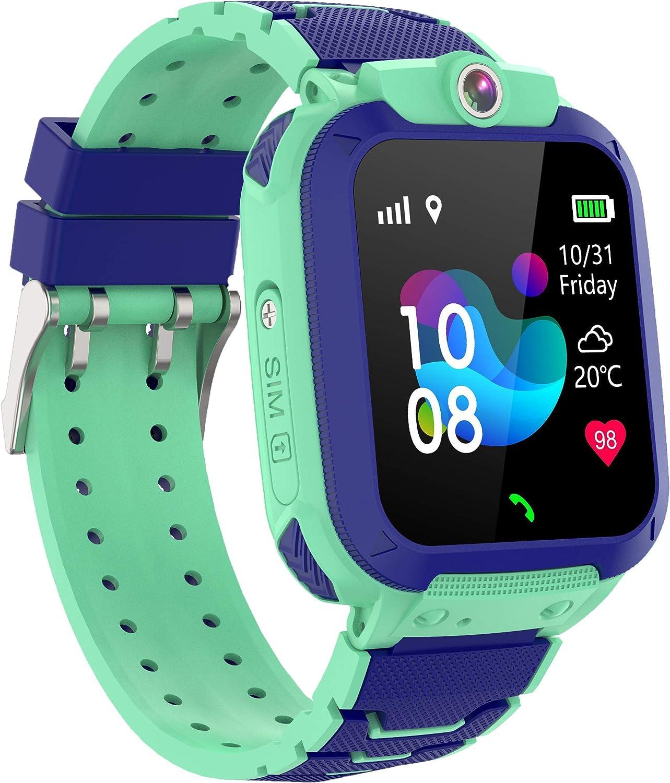 SmartWatch - Reloj inteligente para niños, impermeable, con localización, seguimiento SOS y cámara a distancia, SMS y seguridad para niños, niñas, estudiantes, iOS y Android