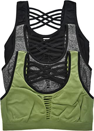 ToBeInStyle Women's 3 Pack Seamless Sports Bra with Strappy Back