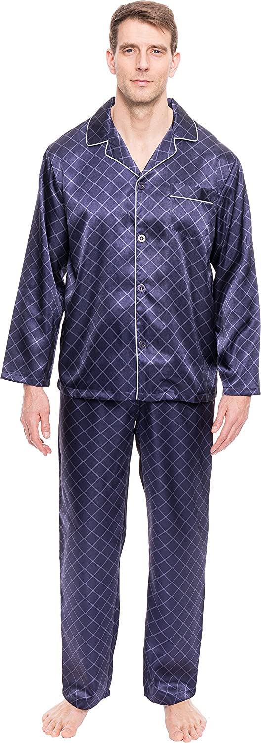 Twin Boat Mens Satin Pajamas Set - Mens Button Down Silky Satin Pajamas