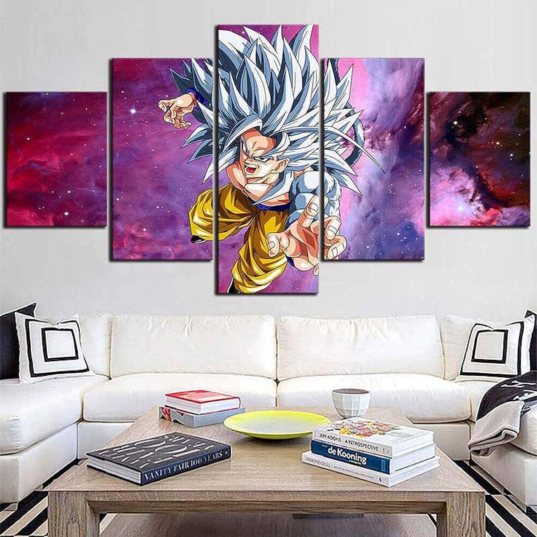 Living Equipment 5 Panel Wall Art Anime Boy Purple Starry Sky Pintura La imagen Impresión en lienzo Imágenes para decoración del hogar Decoración Regalo Obra de arte Pieza estirada por marco de mad