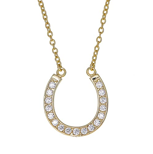 Amazon sterling silver pendant necklace with cz pave horseshoe amazon sterling silver pendant necklace with cz pave horseshoe charm gold rhodium plated 925 silver adjustable chain length 16 18 with jewelry aloadofball Images