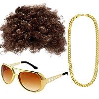 Conjunto de Disfraces Hippies Peluca Afro de Moda Collar de Gafas de Sol para Fiesta Temática de los Años 50/60/70…