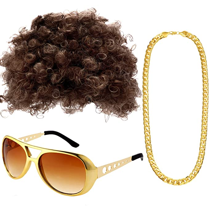 70s Costumes: Disco Costumes, Hippie Outfits Afro Hippie Costume Set Includes Funky Afro Wig Disco Rockstar Gold Celebrity Sunglasses and Faux Gold Chain Necklace for 50/60/70s Themed Party Disco Men Women Party Accessories $15.99 AT vintagedancer.com