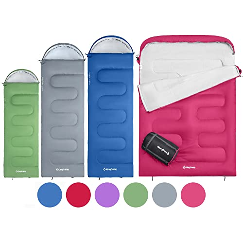 KingCamp Oasis 3 & 4 Season Sleeping Bag 4 Available Sizes (Child, Adult, Extra-Large & Extra-Large Double) in 6 Colours for Camping & Outdoors