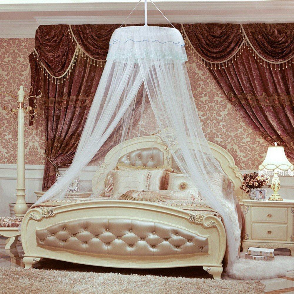 DASENLIN Moskitonetz Encryption Dome Landing Princess Bett-Vorhang-Moskito-Abstoßendes Bett Weiß