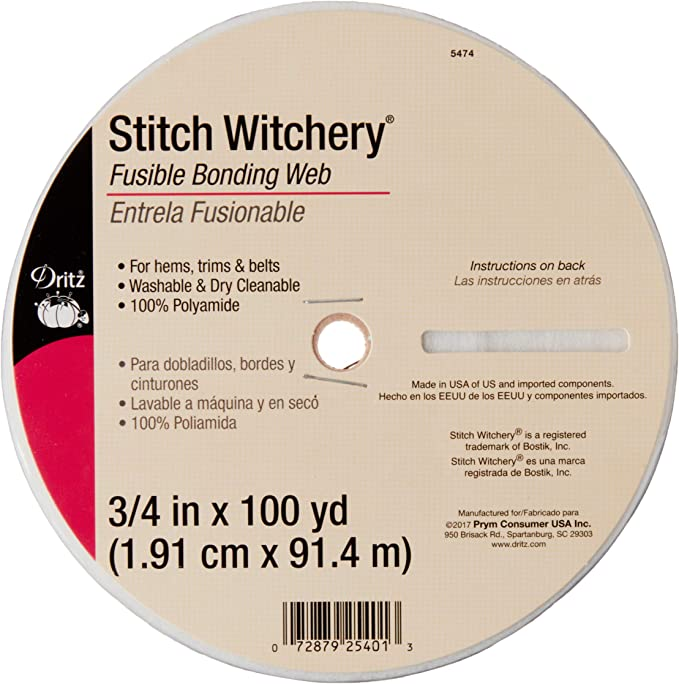 100 Yard Roll 3//4 inch Wide Stitch Witchery Fusible Bonding Web Price Per Roll