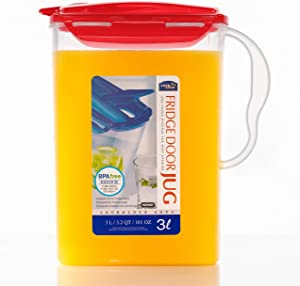 LOCK & LOCK Aqua Fridge Door Water Jug with Handle BPA Free Plastic Pitcher with Flip Top Lid Perfect for Making Teas and Juices, 3 Quarts, Red