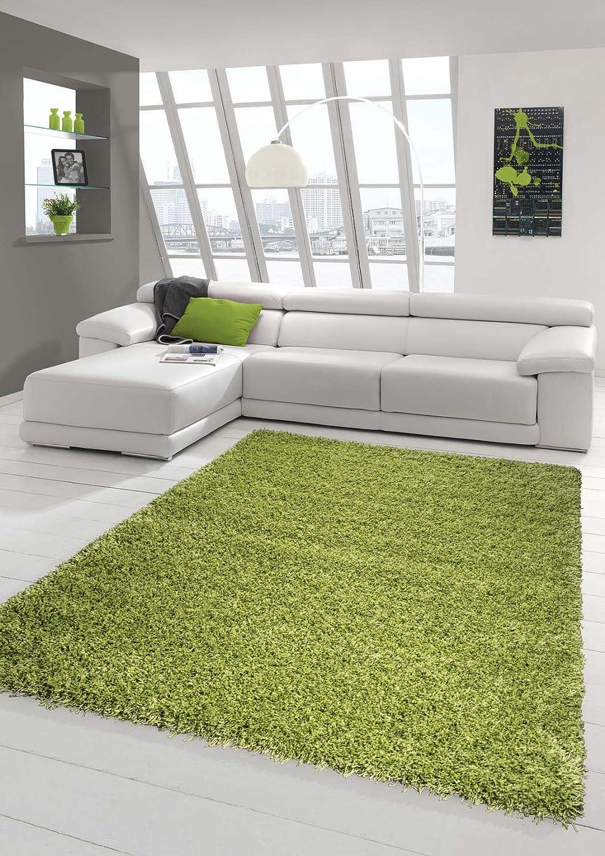 Traum Shaggy Teppich Hochflor Langflor Teppich Wohnzimmer Teppich Gemustert in Uni Design Grün Größe 160x230 cm