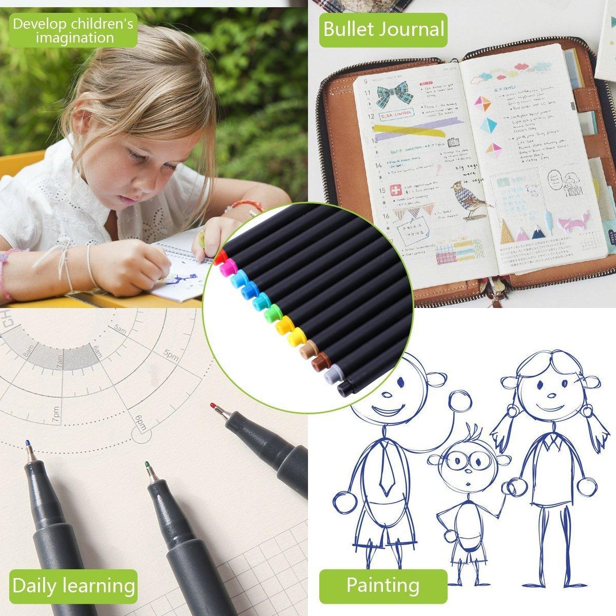 Tinta base agua cuaderno Bullet Journal Stencil y 12 colores /únicos Bol/ígrafo fineliner 24 piezas plantilla de dibujo planificador pl/ástico para diario set para diario diario