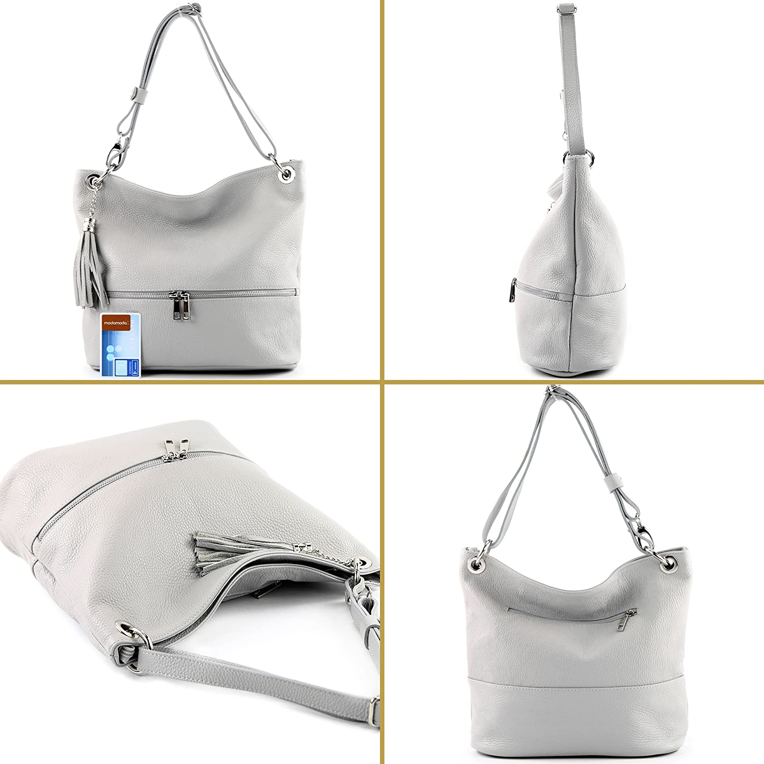 Modamoda de - ital. Leather bag Shoulder bag Shoulder bag Leather bag T143 White Black