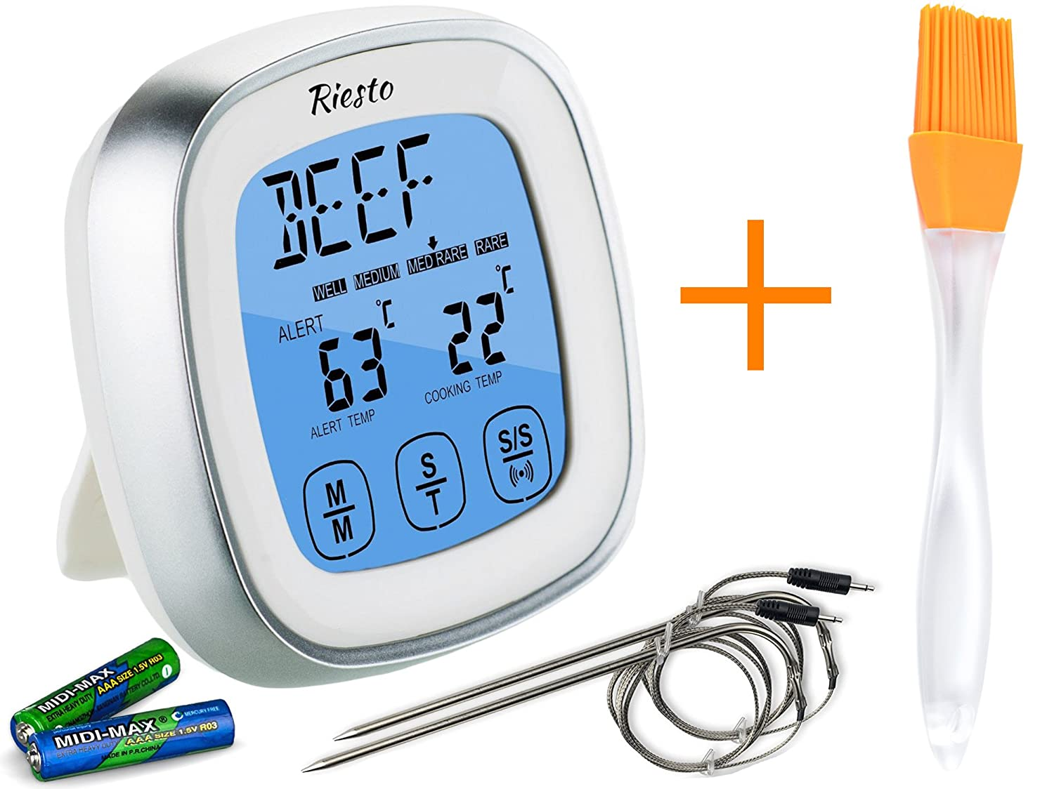 Amazon.com: Riesto Digital Meat Thermometer For Grill - Oven Smoker ...