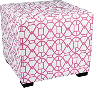 """product image for MJL Furniture Designs Square Tufted Ottoman with a Contemporary Noah Design and Upholstered with 4 Button Top Tuft, 19"""" x 19"""" x 17"""", Blush"""