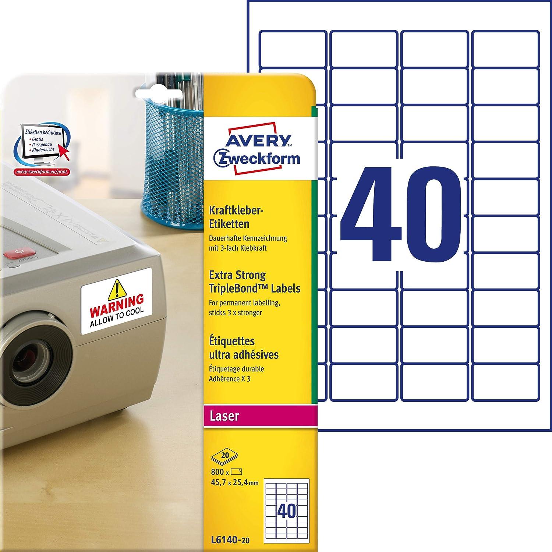 50 A4-Blatt 40 Aufkleber 45,7 x 25,4 mm Klebeetikett Papieretikett f/ür einen Tintenstrahldrucker und Laser