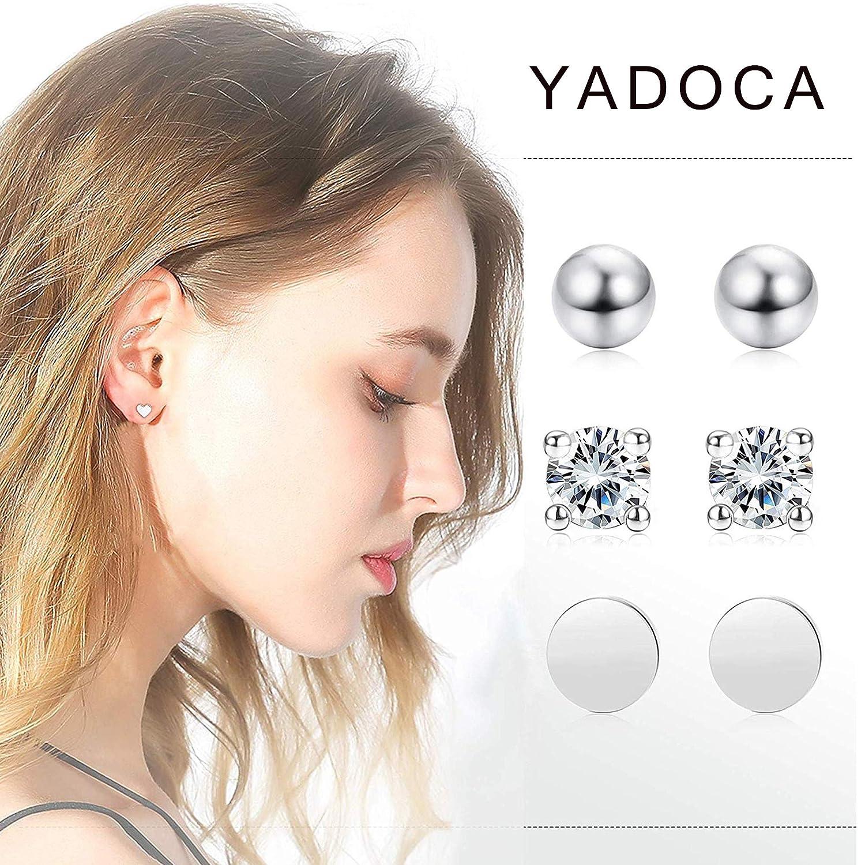 YADOCA 6 Pares Plata de Ley 2mm Pendientes Para Hombre Mujer Aretes Peque/ños Circoni/ña Redondos Pendientes Antial/érgicos Moda Joyer/ía