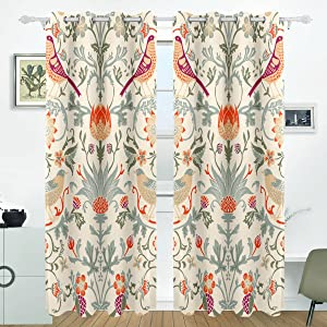 William Morris Curtains Thermal Drapes Panels Darkening Blackout Grommet Room Divider for Patio Window Sliding Glass Door 55x84 Inches,Set of 2