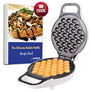 Hong Kong Egg Waffle Maker with BONUS recipe e-book - Make Hong Kong Style Bubble Egg Waffle in 5 minutes AC 110V, 50/60Hz 640W