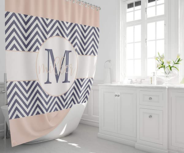Shower Curtain Monogram Last Name Amazon Com