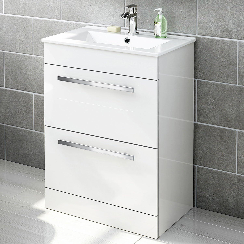 600 mm White Gloss Vanity Sink Unit Ceramic Basin Bathroom Storage Furniture MV802