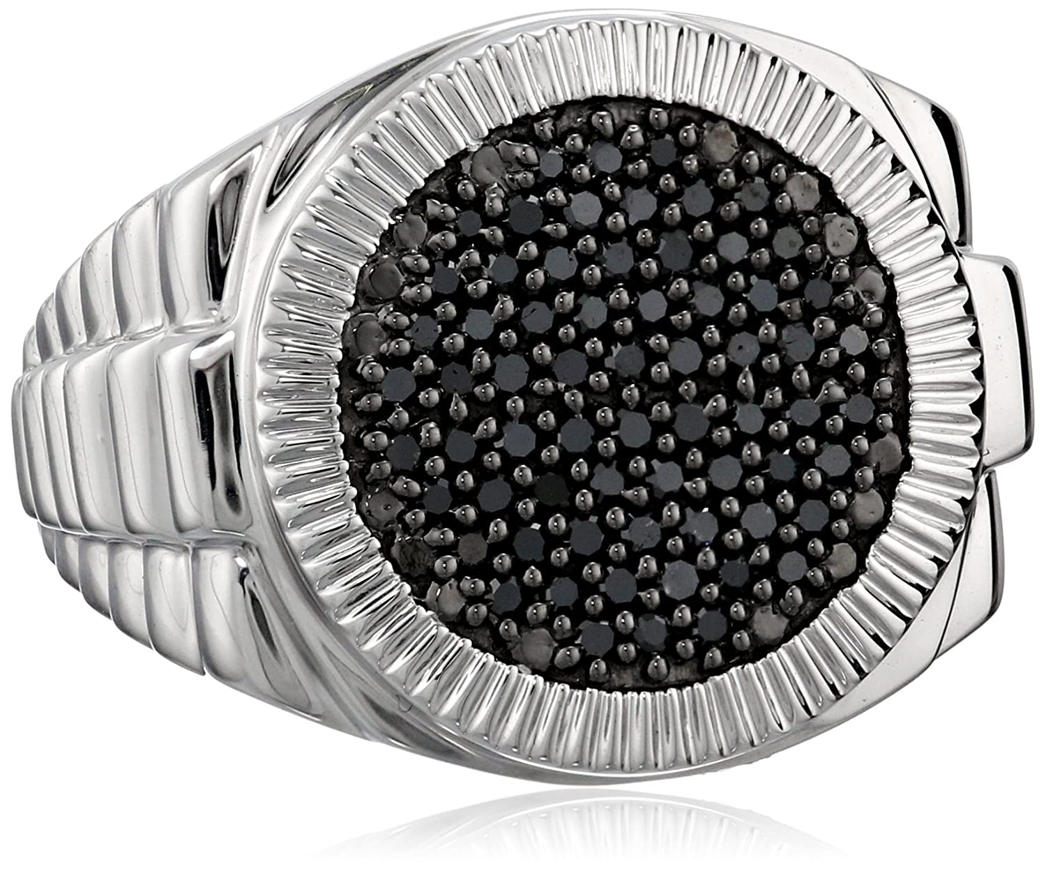 men s sterling silver and black diamond ring 1 2 cttw amazon com