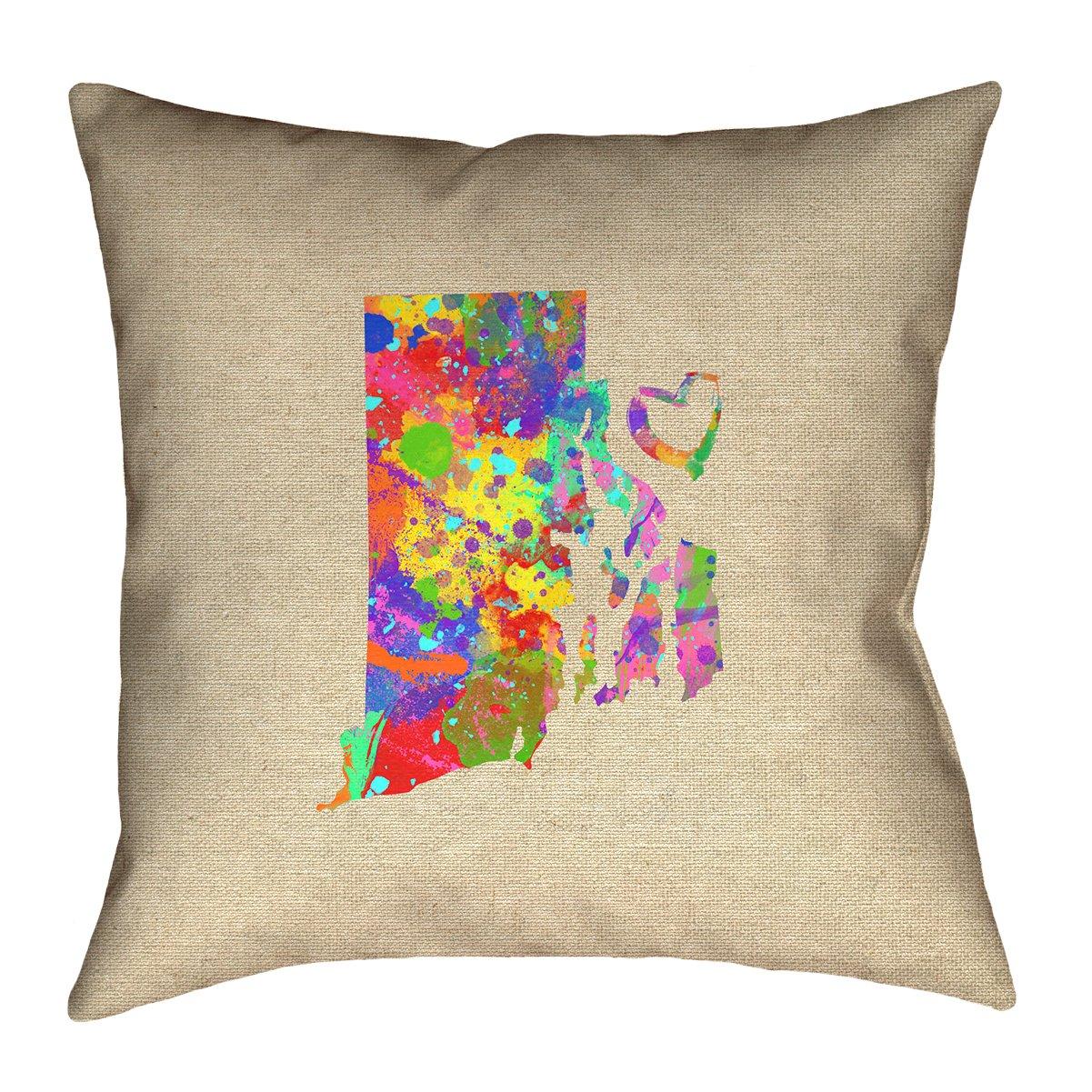 ArtVerse Katelyn Smith Rhode Island Love Watercolor Pillow