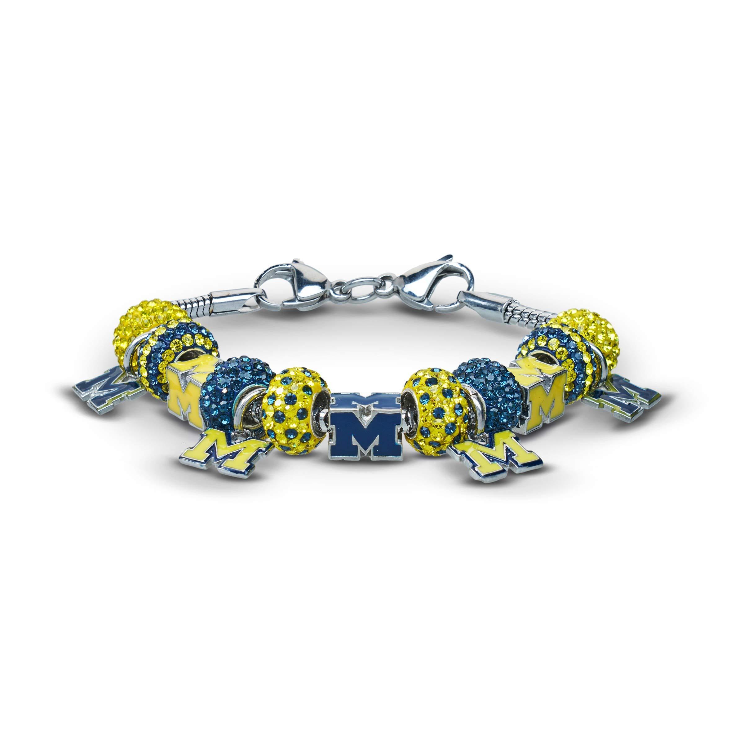 Stone Armory University of Michigan Wolverines Charm Bracelet Jewelry | University of Michigan Charm Bracelet | Michigan Bracelet | UM Wolverines Jewelry