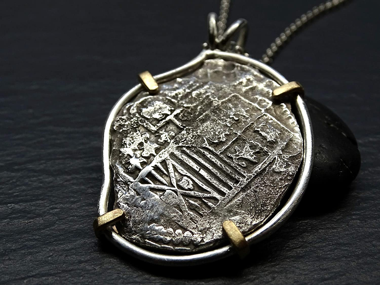 a966b7839baec Amazon.com: shipwreck coin pendant, treasure coin necklace silver ...